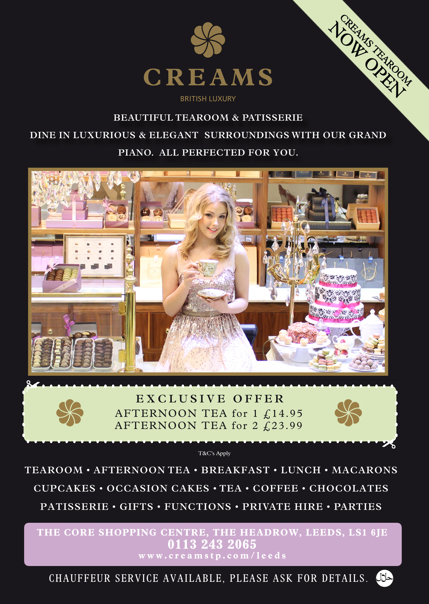 creams tearoom a5 front new afternoon tea offer side 2 copy